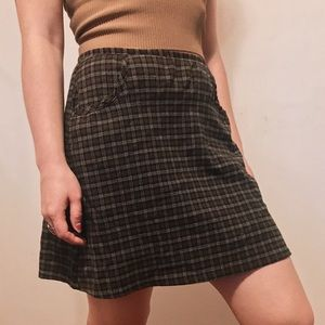 Vintage 60s Brown Plaid Midi Skirt